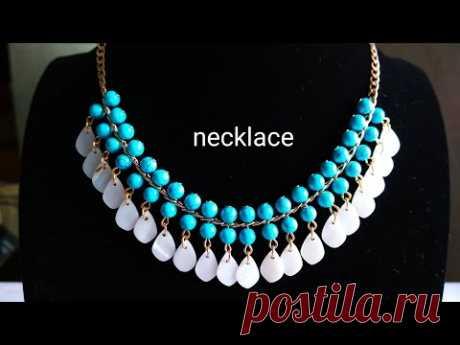 Necklace. DIY. Колье из бусин на цепочке