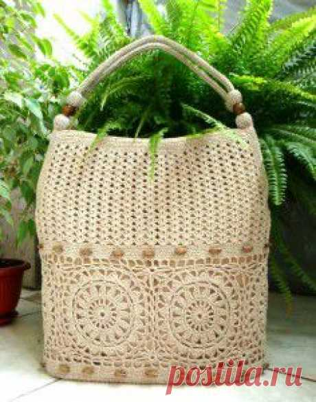 Ажурная вязаная сумка крючком на лето со схемами вязания | Вязаные сумки. ру