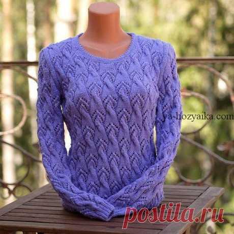 Пуловер красивым узором спицами. Красивый узор для женского свитера спицами