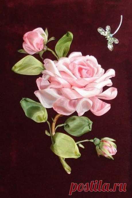 Вышивка лентами: роза.