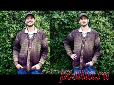 How To Crochet a Mens Cardigan Sweater   A Sweater for Pat    BAG O DAY CROCHET TUTORIAL #527