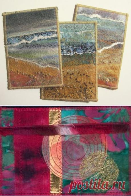Текстильные почтовые открытки - Ярмарка Мастеров - ручная работа, handmade