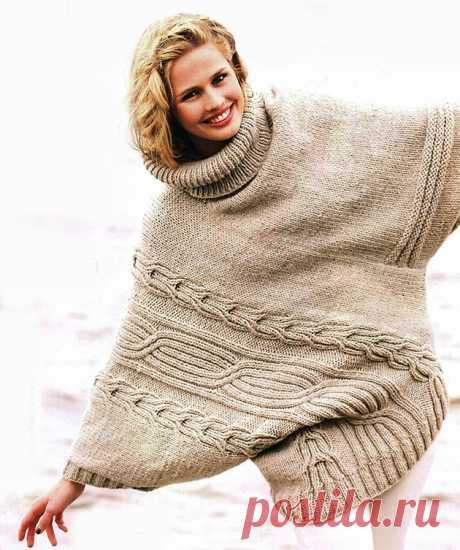 Warm poncho spokes. Description of knitting, pattern