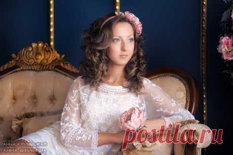 Ободок для волос ручной работы цветы из нежнейшего шифона. Прическа и макияж от Анны Ефимовой.