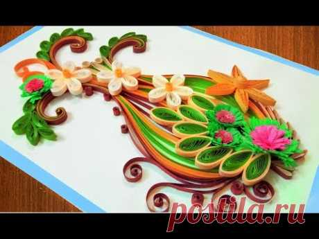 paper quilling flower vase   Quilling Birthday Greeting Card 🌹Paper Quilling Art🌹