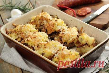 Картофель фаршированный грибами и сыром в духовке – пошаговый рецепт с фото.
