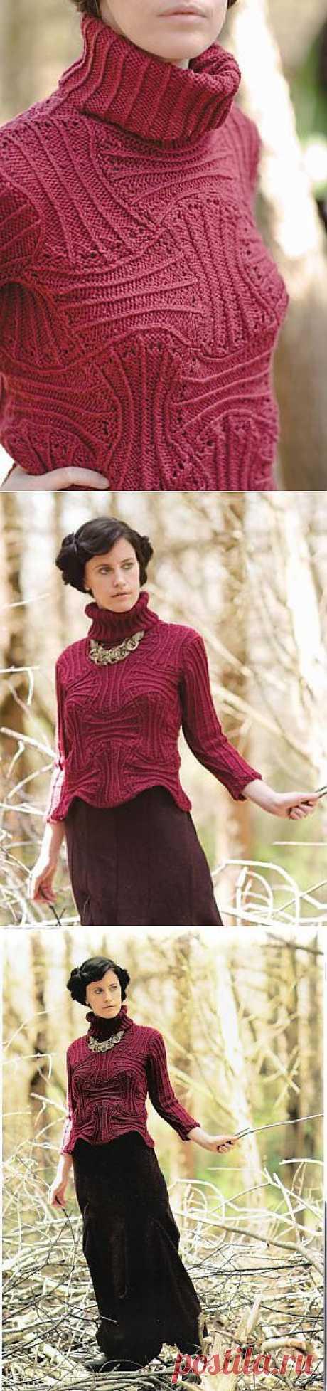 """Пуловер """"Земляничный холм"""" спицами от Norah Gaughan. Все размеры."""