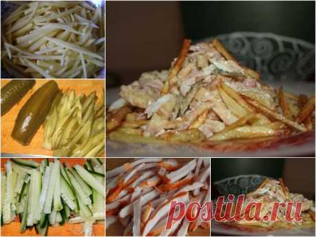 """Салат """"Анастасия""""   Ингредиенты: -300 копченой курицы, - 1 свежий огурец, - 3 клубня картофеля, - 3 маринованных огурца, - 2 куриных яйца, - майонез для заправки салата, - растительное масло для жарки, - соль и молотый перец по вкусу.  Приготовление: 1. Картофель помыть, почистить и порезать соломкой. Обжарить на сковороде с добавлением растительного масла. 2. Яйца отварить, почистить и порезать соломкой. 3. Огурцы т..."""