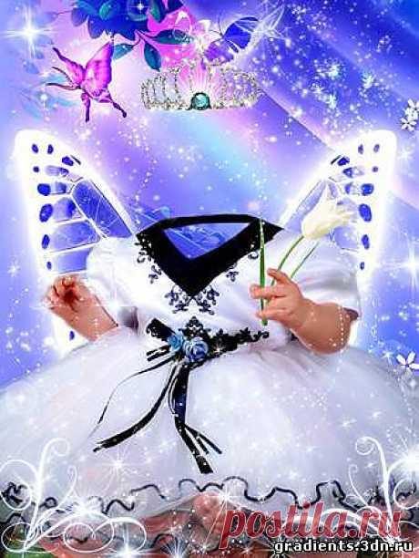 Шаблон для фото – Маленькая фея, скачать бесплатно Шаблон для фото – Маленькая фея без регистрации