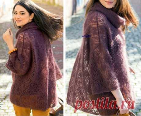 Пуловер из тонкого мохера Вязаный спицами из тонкого мохера воздушный пуловер свободного кроя. Описание
