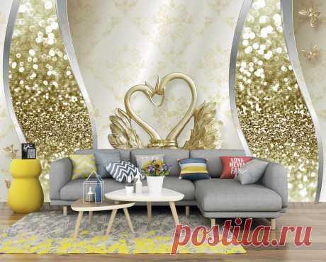 3Д обои с золотыми лебедями и красивыми узорами