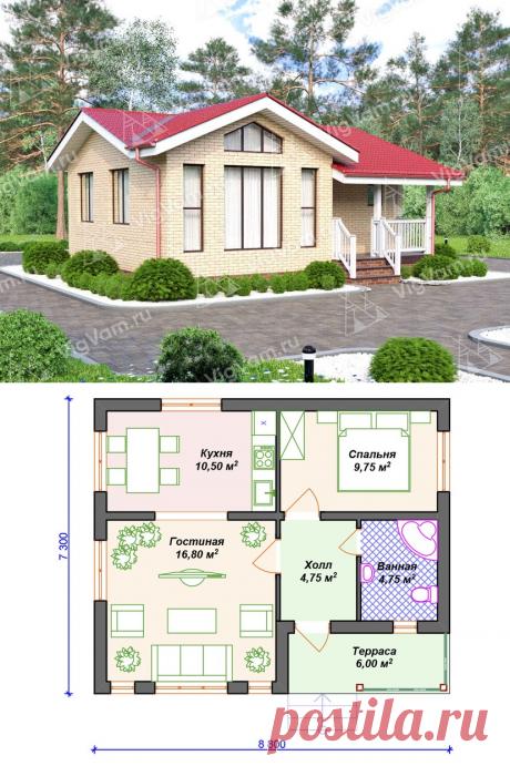 """Каркасный дом с террасой V103 """"Винелэнд"""" – заказать строительство   Вигвам.Ру"""