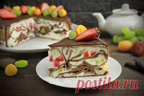Шоколадный блинный торт со сметанным кремом рецепт