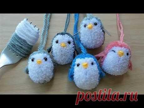 ทำตุ๊กตาปอมปอม-เพนกวินมุ้งมิ้ง : How to Make A LittlePenguin PomPom