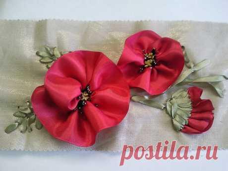 Вышивка лентами красных маков / Вышивка лентами / В рукоделии