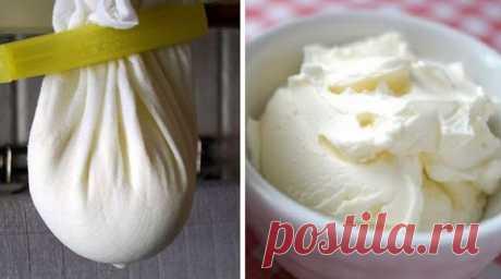 El queso de casa maskarpone de la crema agria