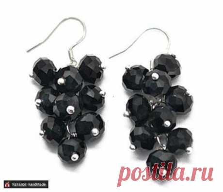 Серьги 'Гроздья' (чёрные) ручной работы купить в Минске и Беларуси, цены на HandMade