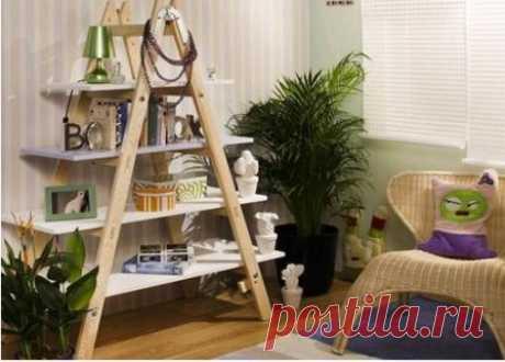 Домашние лайфхаки: новая жизнь лестниц и стремянок в интерьере, как сделать из них стеллаж, этажерку, вешалку. Применение стремянок и лестниц в качестве элемента оформления.