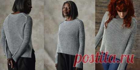 Свитер английской резинкой Luna Женский свитер вязаный спицами двухцветной английской резинкой и платочной вязкой сверху вниз по кругу, с описанием для четырех размеров.
