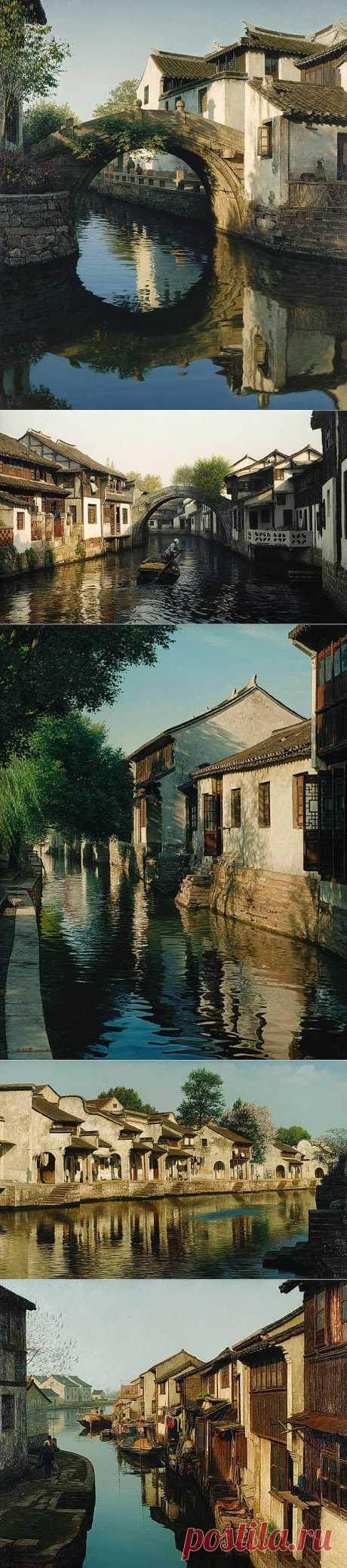 Венеция Востока - Чжоучжуану (Zhouzhuang). Художник Wang Yihua.