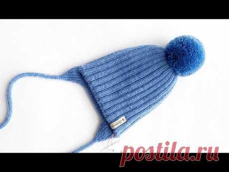 Детская шапка двухсторонняя с подкладом спицами