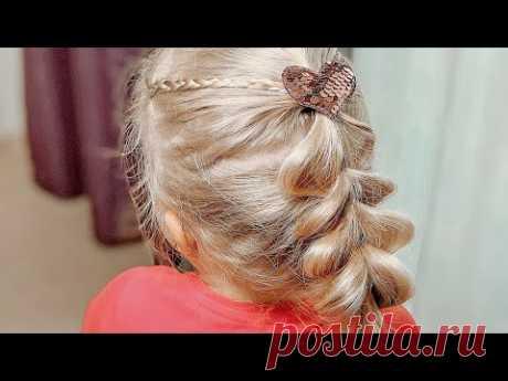 Быстрая Красивая Прическа за 5 минут / Низкий хвост с французской косой / Прически для девочек