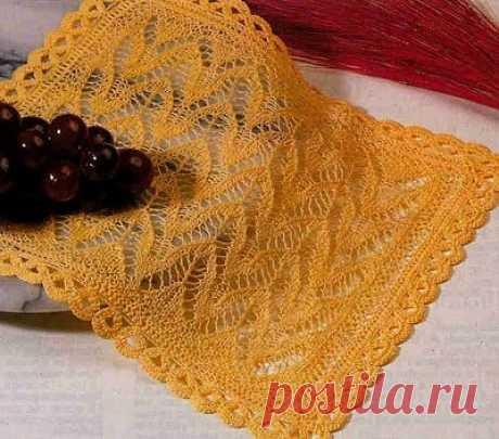 Ажурный узор спицами для шали. Узор спицами для шарфа |