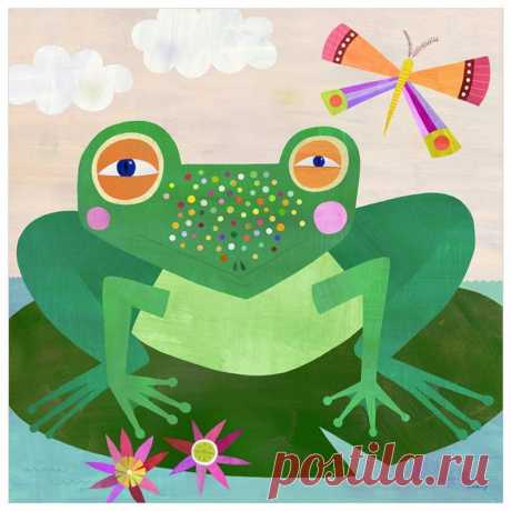Spotted Frog Illustration Canvas Art Print for Nursery or | Etsy