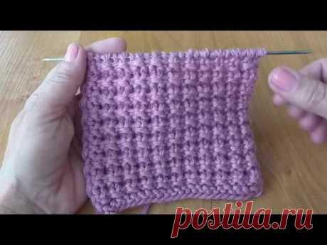 Легкий двухсторонний узор для пледа или снуда. Вязание спицами.