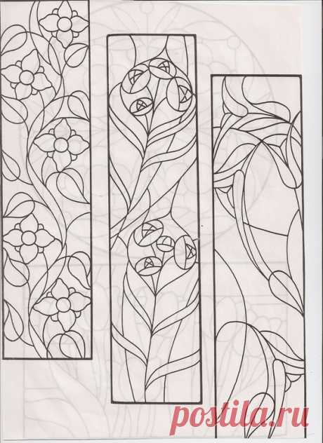 stained glass design for long panels: