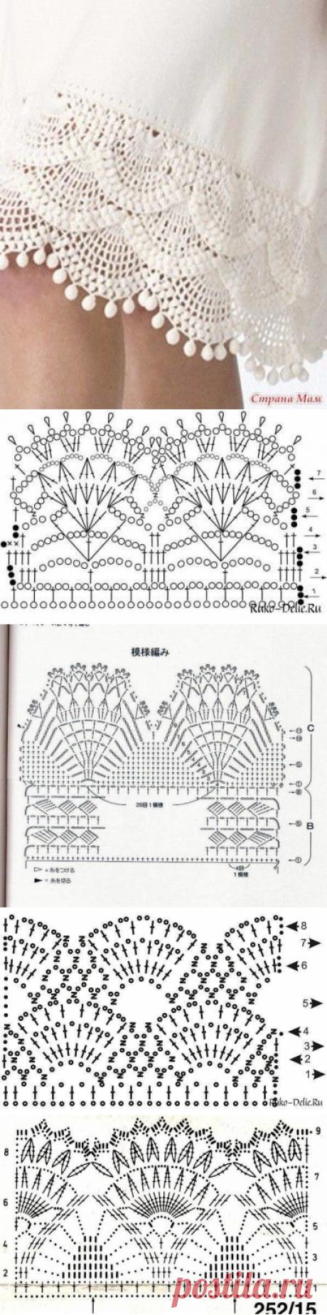 Схемы вязания крючком для отделки юбки