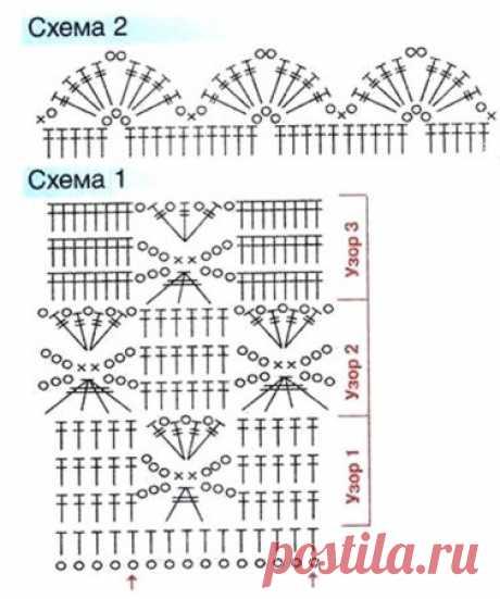 Платье-туника с узором паучок крючком - подробная и бесплатная схема вязания крючком с фото и инструкцией