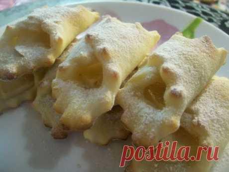 Низкокалорийное творожное печенье-платочки без масла,яиц с яблоком