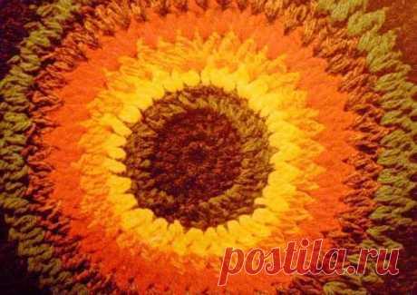 Цветок – кружок. Узор для гипюрного вязания крючком