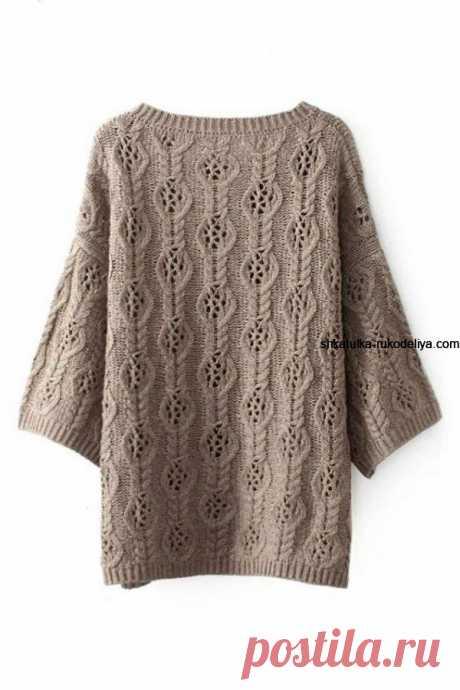Пуловер спицами ажурным узором Пуловер спицами ажурным узором. Свободный пуловер оверсайз+схемы