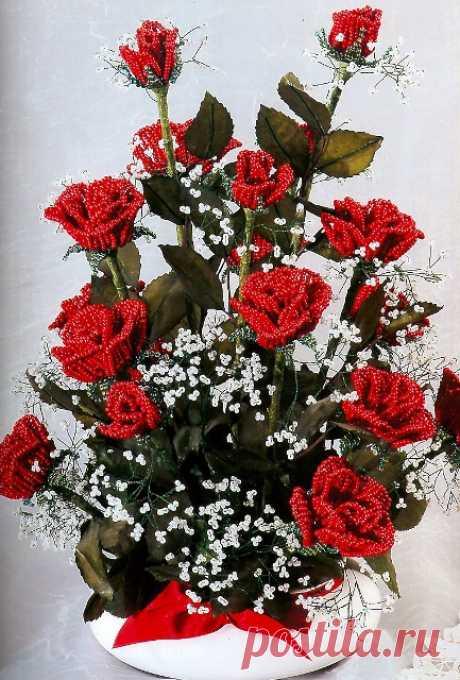 Розы цветы из бисера | Вязание для всей семьи