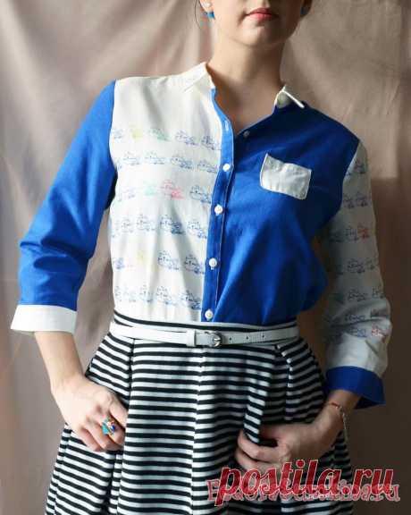 Модная рубашка с котами в стиле colour block