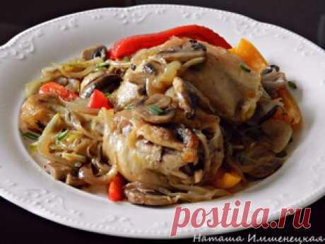 Жареная курица с шампиньонами и болгарским перцем пошаговый рецепт с фотографиями
