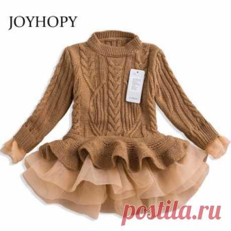US $12.16 49% СКИДКА|Плотное теплое платье для девочек, рождественские свадебные платья, вязаная шифоновая зимняя детская одежда для девочек, купить на AliExpress