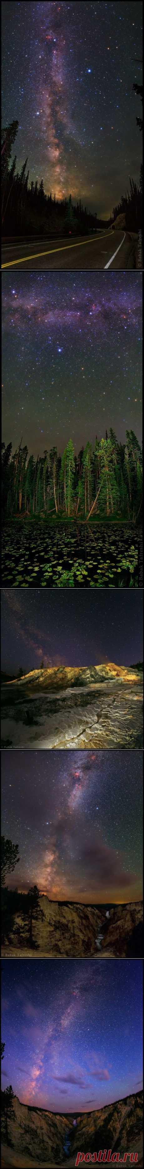 Млечный Путь над национальным парком Йеллоустоун, штат Вайоминг, США.