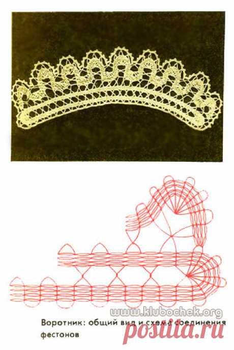 Воротник, имитирующий коклюшечное кружево / www.klubochek.org