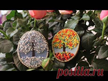 Брошь из бисера DIY bead brooch - YouTube