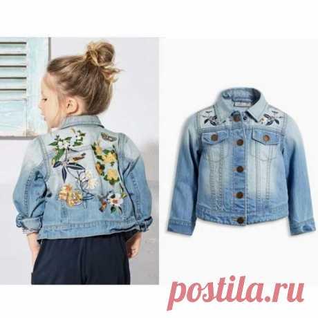 niños ropa de abrigo y abrigo marca de primavera bebés niñas chaquetas de mezclilla bordado floral ropa para niños manga larga para niñas disfraces L-c21