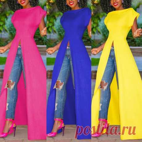 Летнее женское платье из хлопка и льна 2020, Женская длинная туника с коротким рукавом и разрезом спереди #40|Платья| | АлиЭкспресс