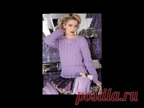 Роскошный свитер спицами с очень красивым узором от  дизайнеров.