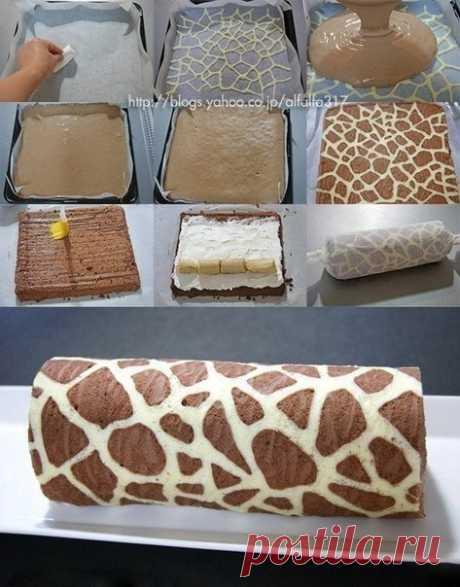 Как приготовить фантастический по вкусу рулет жираф - рецепт, ингредиенты и фотографии