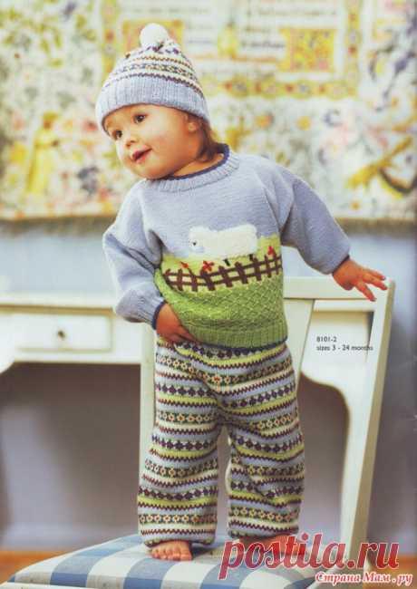 Детский вязаный костюм спицами