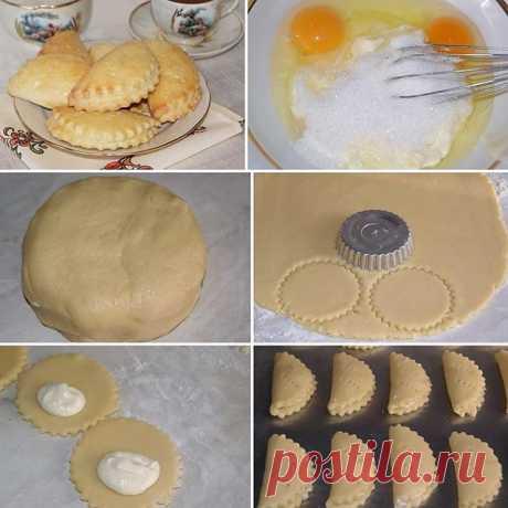 Для теста:Масло сливочное — 200 гр.Сахар — 100 гр.Яйца — 3 штМука — 450 гр.Разрыхлитель................................Для начинки:Творо..