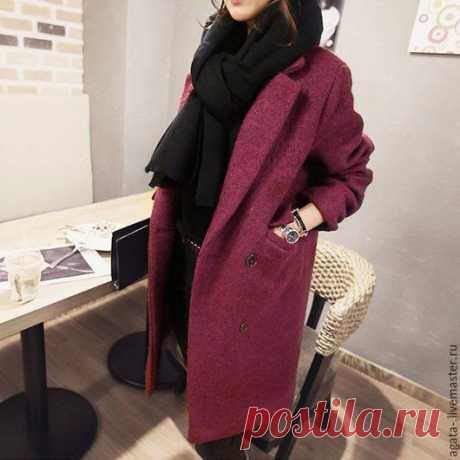 Купить пальто классика - бордовый, однотонный, купить пальто, индивидуальный пошив, на заказ, классический стиль