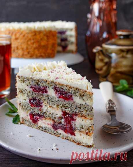 Маковый торт с вишней на Вкусном Блоге Любовь к маковой выпечке у меня тянется с детства. Мама пекла очень вкусный бисквитный пирог с маковой начинкой, который я с теплом и нежностью вспоминаю до сих пор. И дальше развиваю тему мака в десертах. Сегодня я предлагаю испечь чудесный торт с маковыми коржами, вишневой прослойкой и кремом из творожного…